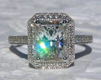Radiant Forever One Moissanite in White Gold Milgrain Bezel Diamond Halo Engagement Ring, Moissanite Engagement Ring