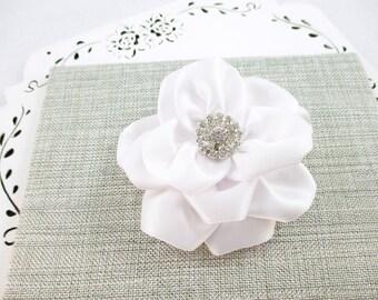 White Flower Hair Clip, White Wedding Flower, Rhinestone White Flower Clip, White Satin Flower, Flower Girl Bow, Bridesmaid Hair Clip