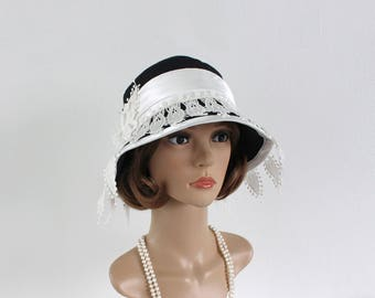 Black and white Great Gatsby cloche hat, 1920s cloche hat, 1920s flapper hat, black and white 20s hat, art deco party hat, roaring 20s hat