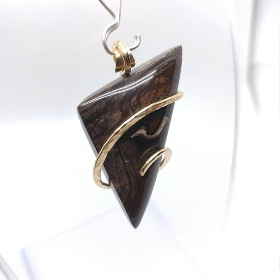 Biggs Jasper Pendant | 14kt Yellow Gold Filled Pendant |  Rare Stone Necklace | Simple Stone Pendant | Oregon Picture Jasper Jewelry