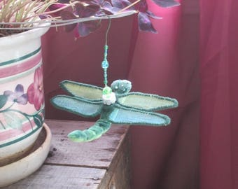 Dragonfly Ornament - Housewarming Gift - Bridesmaid Gift - Christmas - Birthday Gift - Green and Blue