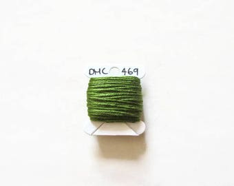Natural Green embroidery thread,  DMC 469, stranded embroidery floss, cross stitch supplies, stranded cotton