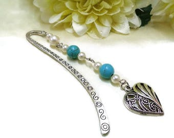 Silver Heart Bookmark, Blue and White Bookmark, Beaded Bookmark, Turquoise Bookmark, Metal Bookmark, Booklovers, Friend Gift, Gift for Her