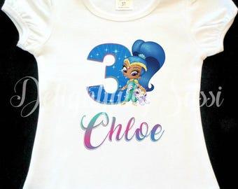 Shine Birthday Shirt, Birthday Shirt, Personalized Shirt, Personalized Birthday Shirt, Shimmer and Shine Birthday Shirt, Girls Shirt