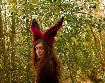 """Red Fox Ears & Tail Set! Large Red and Black Striped Fox Ear Headband and 30"""" inch Long Perky Fox Tail! Realistic Fox Costume LARP Theatre"""