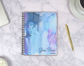 Watercolor Sketchbook Personalized Notebook, Customizable Journals for Women, Paperienco, Lined Notebook Spiral Bullet Journal