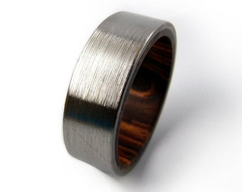Filed Titanium Ring, Cocobolo Ring, Wood Ring, Engagement Band, Wedding Band, Handmade Ring, Promise Ring, Titanium Ring