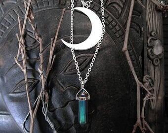 Moon Witch Pendant, Titanium Aura Pendant, Rainbow Crystal, Half Moon Pendant, Crystal Point Pendant