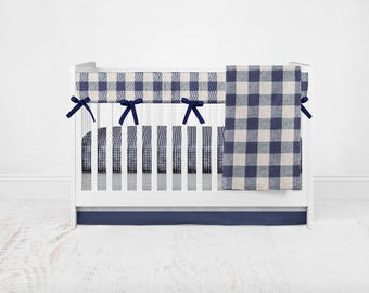 Navy Buffalo Plaid Bedding Set. Baby Shower Gift. Baby Bedding. Woodland Crib Set. Buffalo Baby Bedding. Plaid Bedding Set.