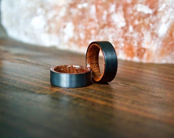 Wood Ring Black Tungsten Carbide Ring Wood Rings Wooden Ring Wooden Rings