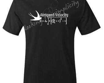 Airspeed Velocity of an Unladen Swallow - Monty Python & Search for the Holy Grail  Inspired Quote - In Stock Plus Sizes No Extra Chg