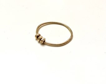 14K Solid Gold Bead Ring - Three Wishes Ring - Traveling 14K Gold Beads - Fidget Ring - Marked 14K
