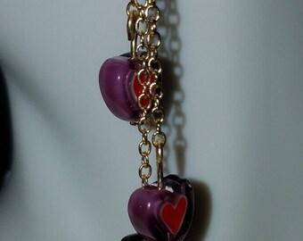 Purple and Red Heart Dangle Earrings