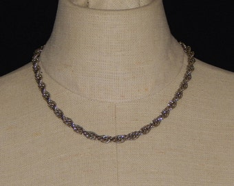 Vintage Monet Chain, Silver Rope Chain,Monet Silver Tone Chain Necklace Signed Monet