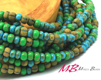 Aged Turquoise Matte Striped Picasso Mix, 6/0 Seed Beads, Tribal Beads