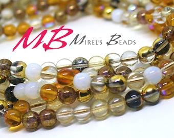 50 8mm Honey Butter Mix Druk Beads, Brown Tone Mix Czech Round Druk Beads,