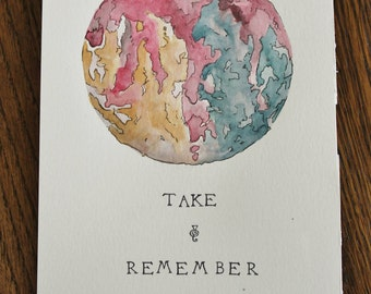 "Silent Planet, Abstract artwork, ""Take and Remember,"" watercolor art"