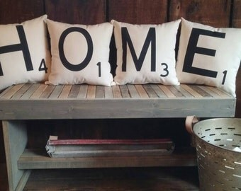 Scrabble Letter Home Pillows, Personalized Letter, Home Pillows, Pillow Cover, Farmhouse Pillow, Rustic, Decorative Pillow, Throw Pillow,