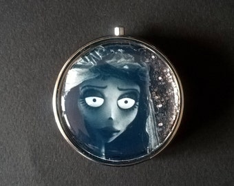 """Pillbox or pill box, jewelry, candy , with glitter """" Emily """" The Corpse Bride - Tim Burton"""