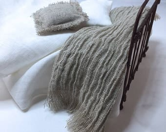 Shabby Chic Handmade Miniature Dollhouse Bed or Sofa Throw - Linen Gauze Fabric with Fringe- Beautiful Natural Color