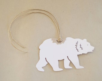 Bear Gift Tags - Set of 8 White Bear Hang Tags