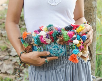 Vintage Hmong Hill Tribe Embroidered Clutch with Colorful Hairs and Pom Pom for Women, Boho Clutch Bag, Bohemian Purse in Blue  - BG521VBLU