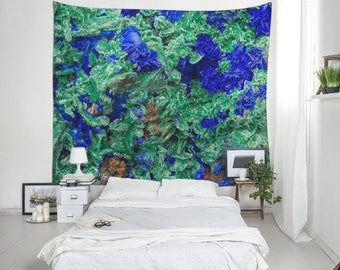 Azurite Wall Art, Mineral Photo Tapestry, Malachite Mineral, Tapestry Room, Dorm Tapestries, Modern Wall Tapestry, Wall Hangings