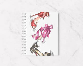 Fashion notebook, Heels notebook, Cute notebook, High heels notebook, Fashion stationery, Fashion illustration, Personal notebook