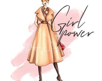 Girl power print, Girl power art, Feminist art, Feminist print, Fashion illustration, Fashion wall art, Fashion art, Fashion print