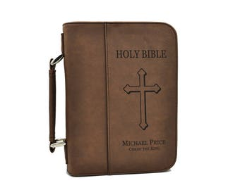 Custom Engraved Bible Cover, Standard Size Personalized Bible, Confirmation Communion Gift, Three Colors Available