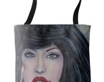 "L.E. Wearable Art Medium Tote Bag ""Leaving the rain"" All over print tote printed painting lady artwork by Deborah Bowe"