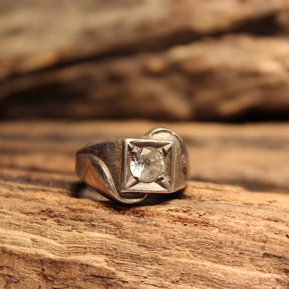Vintage Mens Ring Cubic Solitaire Silver Ring 925 Sterling Makers Mark Deco Ring Size 8.5 Heavy 11.7 grams Mens Silver Ring  Heavy Mens ring