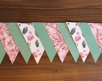 Paper Garland Bunting pink flowers, cactus, green, shiny
