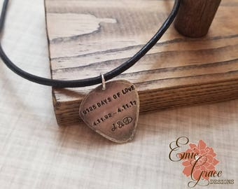 Guitar Pick Sterling Silver Necklace, Custom Message, Leather Cord