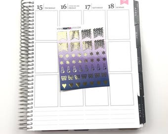 Foil Purple Girly Icons, Planner Stickers