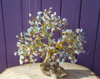 Fluorite Gem Tree, Smoky Quartz Cluster, Amethyst Gemstones, Aquamarine Chips, Semi-precious Stones, Wrapped Wire Art, Crystal Healing