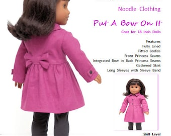 "18 Inch PDF Doll Clothes pattern.  ""Put A Bow On It"" coat pattern fits 18 inch dolls such as American Girl®"