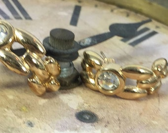 Vintage DIOR Gold earrings with single Diamond