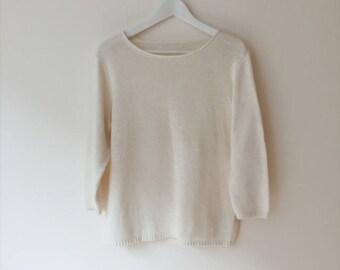 Ivory cotton sweater | Etsy
