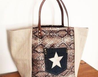 Designer fabric burlap/raffia, faux leather ruffled patchwork tote bag Brown python/snakeskin, Pocket jean, Bronze Star, camel leather handles