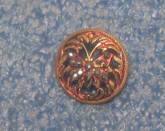 Pierced And Tinted Brass Button With Cut Steel Butterfly