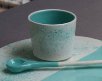 Cup glazed white earthenware decorated by hand in my Studio - ready to ship