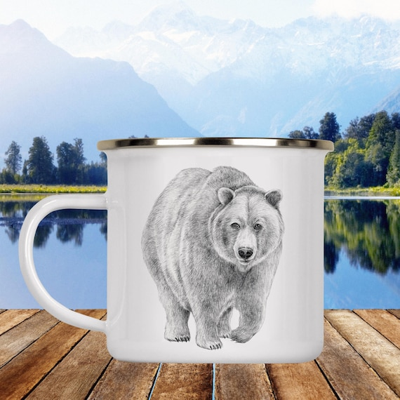 Bear Camp Cup - Illustrated Bear Enamel Mug - Dishwasher Safe