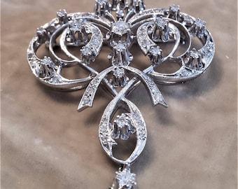 14K White Gold, Diamond Brooch