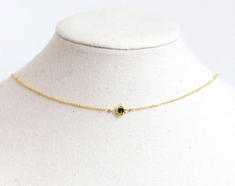Sapphire Choker Necklace - Natural Sapphire Jewelry, Sapphire Necklace Vintage, Sterling Silver Choker, September Birthstone Choker