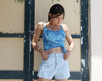 Light blue vintage jeans denim high waist shorts.size s