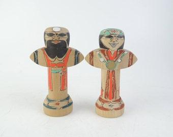 Vintage kokeshi doll, set of 2, Ainu