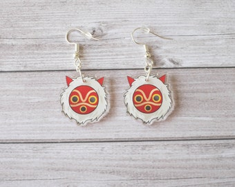 Princess Mononoke mask earrings - Miyazaki, studio Ghibli, kawaii, cute, geek, Japan, japanese