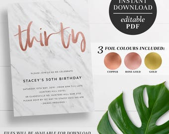 Printable 30th Birthday Invitation Marble and Rose Gold Foil   Editable Template   Faux Foil   Copper   Gold   Marble 30th Birthday Invite