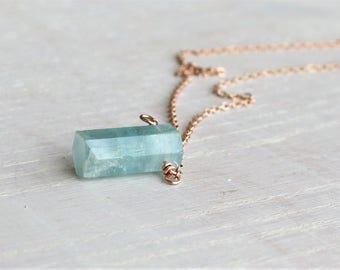 Raw Aquamarine crystal Necklace Rose Gold filled, Gold filled, Rough Aquamarine Pendant, Raw March Birthstone Jewelry, Raw Crystal Necklace
